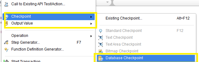 Storing Database Checkpoints in HP Unified Functional Testing 12.x